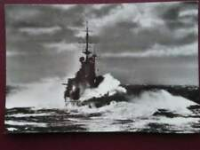 POSTCARD HMD RENOWN BATTLESHIP CRUISER IN A STORM