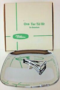 "Vintage Milbern Chromium One Tier Tidbit Tray #1010 - Box Included 9 7/8"""