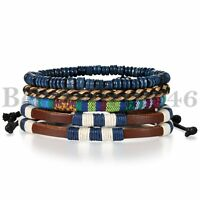 4pcs Fashion Bracelet Beads Leather Mix Cuff Beaded Bracelet Set for Men Women