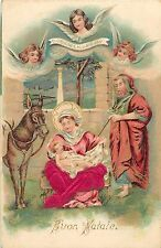 Emboss Nativity Scene Chromo Postcard Buon Natale Angels Gloria In Excelsis Deo