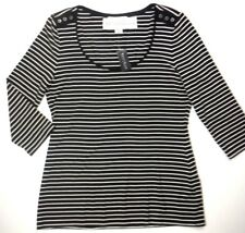 White House Black Market Women's Size XL 3/4 Sleeve Striped Black/White