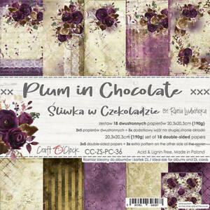"""8"""" x 8"""" scrapbooking paperpad cardstock Plum in Chocolate 18 sheets 190gsm"""