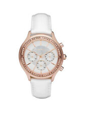 DKNY Watch NY8255 White leather band rose Gold/crystals Chrono Women's