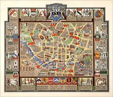 Leeds pictorial history map - reproduction - 69.49 x 59.4 cm