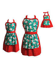 Girl Mommy and Doll Matching Christmas Santa Red Apron Clothes Set American Girl