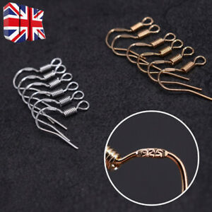 100x 925 Sterling Silver Earring Hook Wire Hypoallergenic Jewellery DIY Ear Wire
