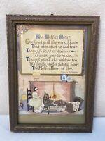 Vtg 1930-40's Buzza Motto MOTHER Poem Mom Spinning Wheel Hearth PRINT FRAMED