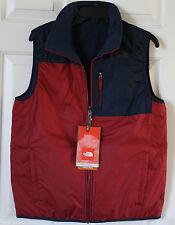$85 NWT Boys The North Face Reversible Ledger Fleece Full Zip Vest Navy Red XL