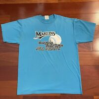 VINTAGE Florida Miami Marlins Shirt Adult Large Blue White Spell Out Logo Mens