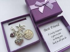 BEST FRIEND LUCKY SIXPENCE GIFT KEEPSAKE CHARM in a lovely gift box