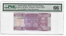 P-3 2011 25 Piasters, Bank of South Sudan, PMG 66EPQ GEM Nice