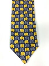 CHARLES OF LONDON 100% SILK TIE - BLUE TIE WITH YELLOW ELEPHANT DESIGN