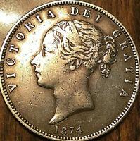 1874 GREAT BRITAIN UNITED KINGDOM QUEEN VICTORIA SILVER HALF CROWN