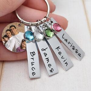 Personalised Family Kids Name Keyring,Name Bar Birthstone Keychain Gift for Mom