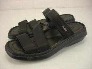 Women's 6 6.5 37 Josef Seibel Tonga Black Leather Sandals Adjustable Strap Slide