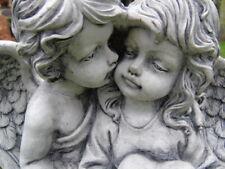 ANGE , statue d un couple d ange en pierre patinée , cupidon et sa fiancé !