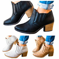 Womens Ladies Mid Block Heels Round Toe Western Chelsea Ankle Boots Shoes Size
