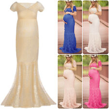 Pregnant Women Chic Lace Maxi Dress Maternity Photography Props Party Prom Gown
