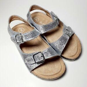Toddler Girls Size 8 Sandals Footbed Cat & Jack Tisha Silver