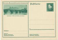 DT.REICH Friedrich Ebert 6 Pf 1932 Bildpost-GA HEIDELBERG – Blick auf Brücke und