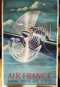 AFFICHE - Réédition - AIR FRANCE - dans tous les ciels - 1988