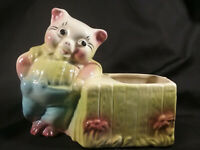Vintage Pig and Water Trough Ceramic Pottery Planter  USA #86