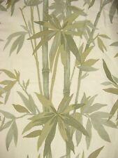 WAVERLY Bamboo Pattern Coverlet Bedspread TWIN  Cotton Cream Greens Lightweight