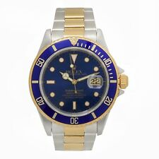 ROLEX SUBMARINER 16613 MENS AUTOMATIC WATCH BLUE DIAL OYSTER BRACELET TWO TONE