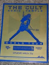The Cult Sonic Temple World Tour Poster Irvine Meadows Concert Poster