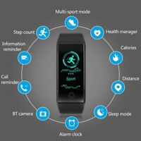 Sports Fitness Activity Tracker Heart Rate Monitor Smart Watch Band Waterproof