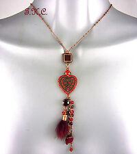 Clásico Cobre Oro cloisonné Collar con Corazón con/ Rojo Cristales Swarovski