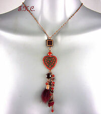 Vintage Copper Gold Cloisonne Heart Pendant Necklace w/ Red Swarovski Crystals
