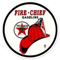 Texaco Fire Chief Retro Round Tin Metal Sign 12 x 12