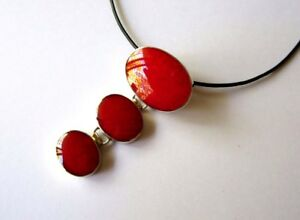 RED CORAL STERLING SILVER  PENDANT NEW
