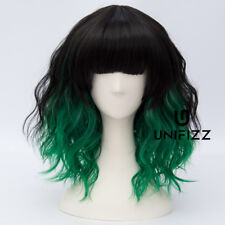 Lolita Black Mixed Green 35CM Medium Curly Women Ladies Cosplay Harajuku Wigs