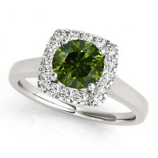 0.67 Carat Green & White Diamond Halo Engagement Ring Stylish & Classy 14k Gold