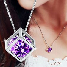 18K White Gold GP Purple Violet Swarovski Crystal CZ Necklace Chain Pendant