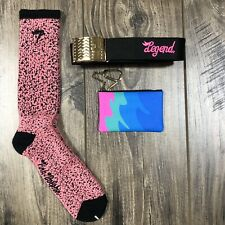 """PINK DOLPHIN """"RARE"""" Vintage Accessories LOT BELT/COIN POUCH/SOCKS ETC. SAMPLE"""