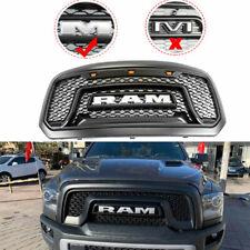 2013-2018 2016 2017 Dodge Ram 1500 Mesh Grille Front Grill Hood LED Amber Light