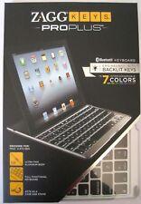 ZAGG Keys PROplus Bluetooth Keyboard for iPad 2/3/4 Aluminum w Backlight *NIB