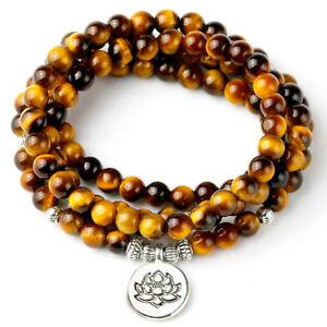 Tigers Eye Mala Beads Grade A 108 Necklace Bracelet Meditation Prayer 6mm Reiki
