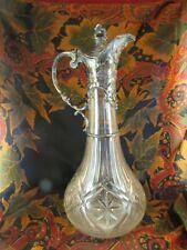 ancienne aiguière verseuse vin en verre taillé et metal argenté epok 1900 st LXV