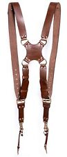 Harness Shoulder Strap Two Cameras Dual Leather Multi Holder Adjustable Brown