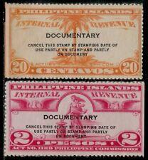 USA Commonwealth PHILIPPINES 1935 Unused Revenue Stamps - Coconut Tree, Liberty