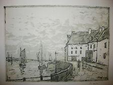 Maxime MAUFRA - Le QUAI du CROISIC - 1915. Gravure contresignée par l'artiste