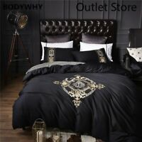 Gyptian Cotton Gold Embroidery Bedding Set Bed Cover Rubber Duvet Cover 4pcs