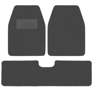 Set of 3 Car Floor Mats - 2 Front 1 Rear Liner Charcoal Carpet for Truck SUV Van