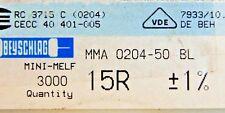 3000pcs resistor SMD 15 ohm minimelf 50ppm 1% 0.4W MMA020450BL 15R BEYSCHLAG