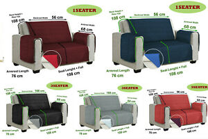 Sofa Cover Quilted Reversible Anti Slip Throw Pet Protector 1/2/3 Seater Couch