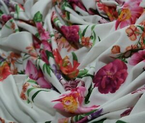 """LARGE REMNANT 2 Metres 20cm Jersey Fabric Liverpool Texture Crepe Floral 60"""" W"""